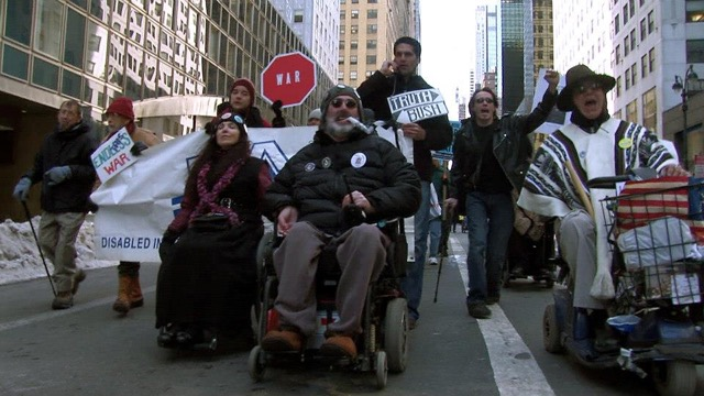 People Protest in New York City for Disabled Rights